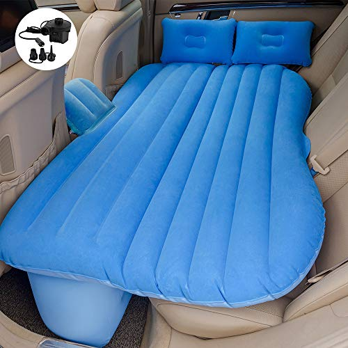 hikotor Car Travel Back Seat Inflatable Blue Air Mattress - 2 Air Pillows,2 Air Piers,1 Travel Neck Pillow,Mattress and Piers can be Separated so Mattress can be Used Like a Normal Camping Mattress