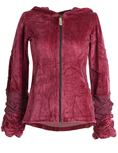 Vishes – Alternative Bekleidung – kuschelige Samtjacke mit extra großer Kapuze dunkelrot 38