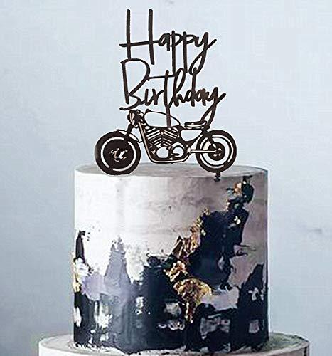 JeVenis Tortenaufsatz aus Acryl, Schwarz, Motorrad, Roller, Happy Birthday, Kuchenaufsatz für Männer, Geburtstagsparty oder Jungen Geburtstag