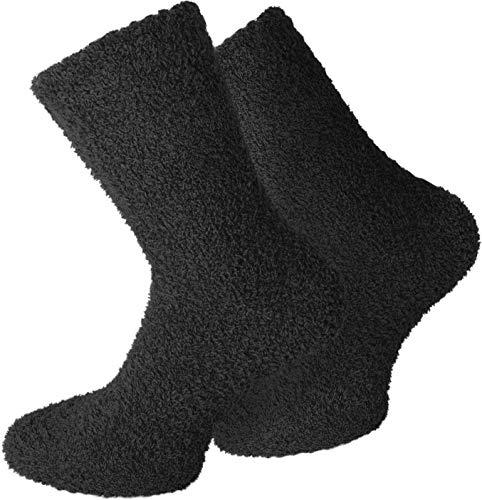 normani 2 Paar Kuschelsocken/Bettsocken/Socken Stripe Geringelt mit Elasthan Farbe Uni/Schwarz Größe 43/46