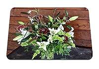 22cmx18cm マウスパッド (ダリア花芽花花瓶葉) パターンカスタムの マウスパッド