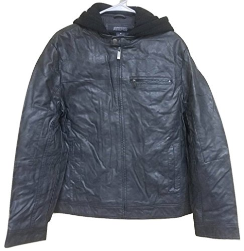Kenneth Cole Reaction Faux Leather Gray Moto Jacket Hooded and Bib