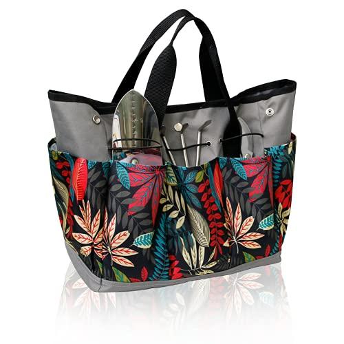 YGYQZ Garten Werkzeugtasche für Gartenwerkzeug- Mehrzweck Garten Werkzeug Tasche, Wasserdicht Oxford Garten Werkzeug Aufbewahrungstasche mit 9 Kleinen Taschen, Gartengerätetasche, Grau