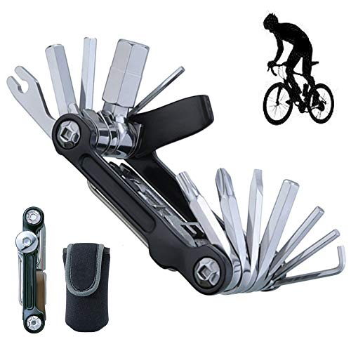 Team Edition Fahrrad-Mini-Kombinationswerkzeug, 20-in-1 Fahrrad Multitools, Reparatur von Mountainbikes, Multifunktionswerkzeug, mit Schutzhülle, für Outdoor, Camping, Reisen, Radfahren,Schwarz