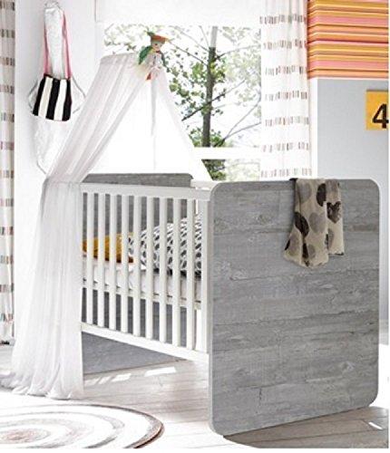 Babybett Kinderbett Kindermöbel Vintage wood grey weiß matt Frieda