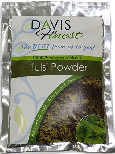 Davis Finest Tulsi Holy Basil Powder for Hair & Skin - Acne Scar, Dry Skin, Eczema, Spots Treatment - Natural Antiaging Skin Tightening, Brightening, Cooling, Redness Relief, Firming Face Mask 100g