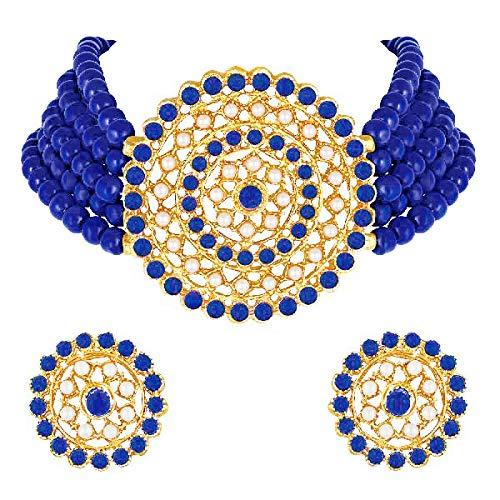 Aheli Gargantilla de diamantes de perlas con pendientes redondos para mujeres y niñas, juego de joyería tradicional indio Bollywood (azul)
