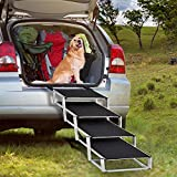 Portable Folding Dog Stairs for Large Dogs, 4 Steps Lightweight Aluminum Pet Ramp with Nonslip Surface Portable Ladder, Great for High Bed, Cars, Vehicles, Trucks and SUVs, Support 150 to 200 lbs