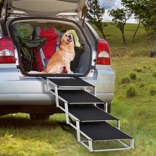 Portable Folding Dog Stairs for Large Dogs, 4 Steps Lightweight Aluminum Pet Ramp with Nonslip Surface Portable Ladder, Great for High Bed, Cars,...