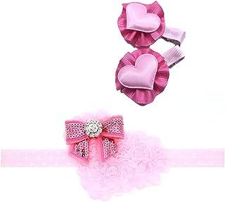 Pink Valentines Headband Flower Bow Baby Girls Pink Hair Band Accessories JHV05