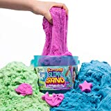 SLIMYSAND Bucket, 5 Pounds of SlimySand in 3 Colors (Blue, Green and Purple), 3 Molds, Reusable Bucket for Storage. Super Stretchy & Moldable Cloud Slime!