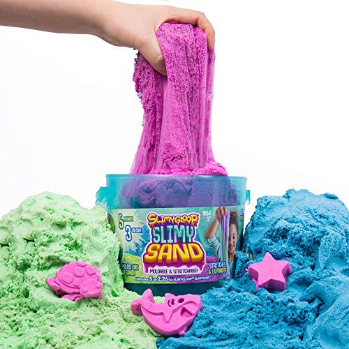 SlimySand Bucket, 5 Pounds of SlimySand in 3 Different Colors (Blue, Green and Purple), 3 Molds, Bucket is Reusable for Storage. Super Stretchy & Moldable!