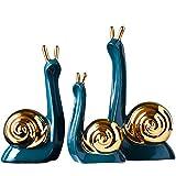 MAYIAHO Escultura de caracoles decorativa para salón, moderna, color blanco, cerámica, para colocar pie, para alféizar la ventana, figuras porcelana, escritorio, estantería, dormitorio, juego 3 (azul)