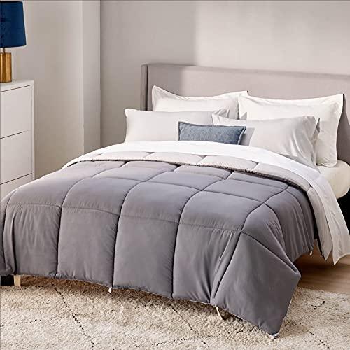 Bedsure Reversible Comforter Queen Size - All Season Quilted Down Alternative Comforter, Soft Duvet Insert, Microfiber Stain Resistant Lightweight Duvet (Queen 88x88 inches, Dark Grey/Light Grey)