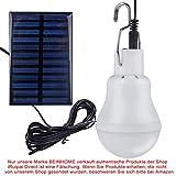 Beinhome Solarleuchten Solarlampen, Solar Glühbirne LED mit Solarpanel Licht Birne 3 W, Solar lampe Beleuchtung für Außen, Innen, Camping, Wandern, Angeln, Gartenhaus [1 Stück]