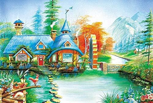 LLYMGX 1000 Stück Village Wassermühle Für Erwachsene Puzzle Holzpuzzlesets Für Familiendekoration Puzzlespiele Lernspiele Lernpuzzlespielzeug