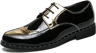 Calzado de ala de negocios casual Zapatos de hombre de negocios personalidad casual correas de costura respiraderos gruesos charol sólido zapatos Oxford Zapatos Brock Wingtip Calzado de ala de desgast