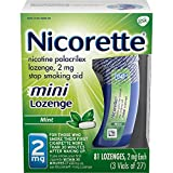 Nicorette 2mg Mini Nicotine Lozenges to Quit Smoking Mint Flavored, Green, 81 Count