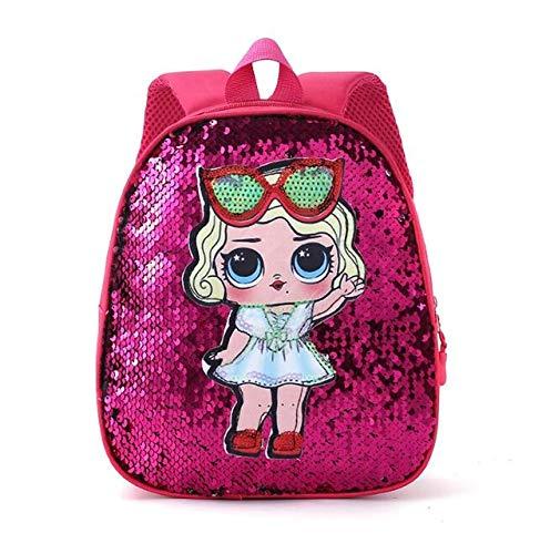 LOL Dolls Escuela para niños Bolso Lindo Bolso Brillante,Estampado de Dibujos Animados Lindo Anime Mochila para niños Kindergarte