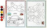 JoyRolly Libro de Colorear de Dibujos Animados Lindo Canguro cocodrilo camaleón Pollito Sol Flor Mariposa avión Coche Libro de Colorear niño Dibujo Infantil 3~6 años de Edad C