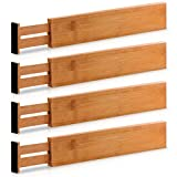 Extra-Large Bamboo Adjustable Drawer Dividers - Expandable (2.6 Tall, 17.5 - 22 Inch) Kitchen Utensil Organizer Separators for Kitchen, Dresser, Bedroom, Baby Drawer, Bathroom & Office, Set of 4 (Natural)