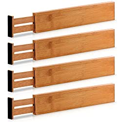 Kitchen organization products including bamboo drawer dividers.