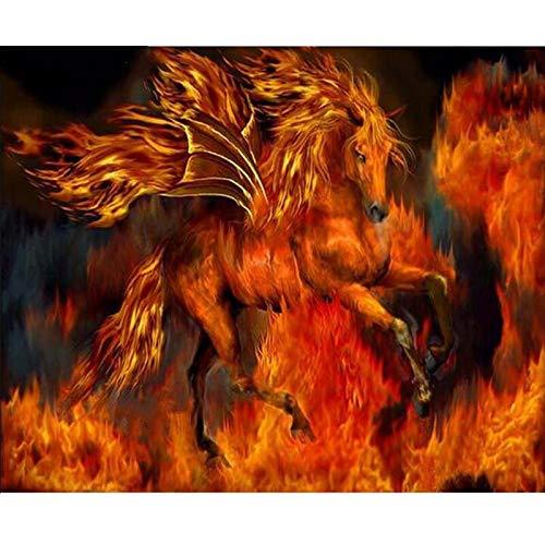 HAODGUO Pintura de Punto de Cruz con Bordado de Diamantes Cuadrados 5D, Caballo ardiente de fantasía, Cuadro Completo de Diamantes, decoración del hogar, Caballo de Fuego