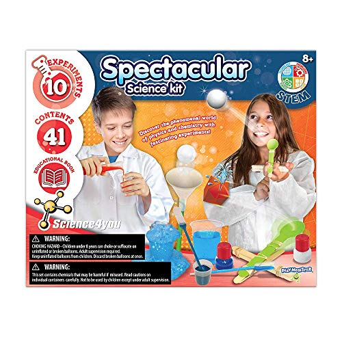 PlayMonster Science4you - Spectacular Science -- 10 Experiments to Discover Physics and Chemistry -- Fun, Education Activity for Kids Ages 8+