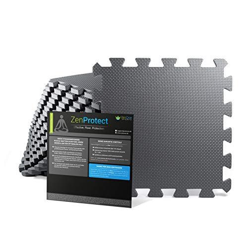 ZenProtect Esterillas de Puzle de Fitness, Juego de 18 Set de Protección para el Suelo, para el Deporte, Equipos de Fitness y Salas de Entrenamiento, Alfombra en Espuma, 30 x 30 x 1 cm (Gris)