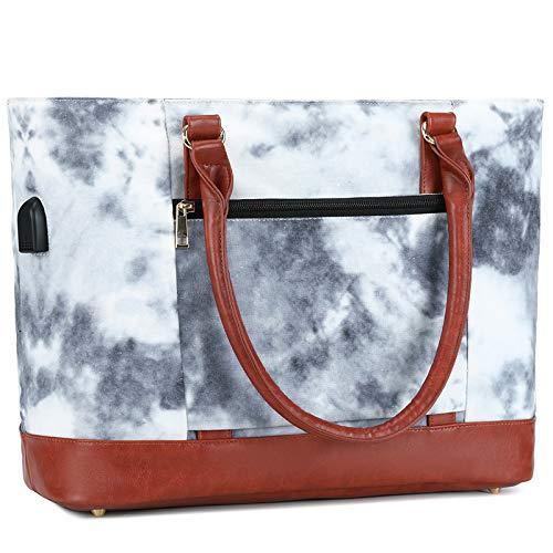 Bolso grande para las mujeres 15.6 pulgadas USB portátil hombro bolso para profesor trabajo escuela viajes bolsos, (Tie Dye), Large