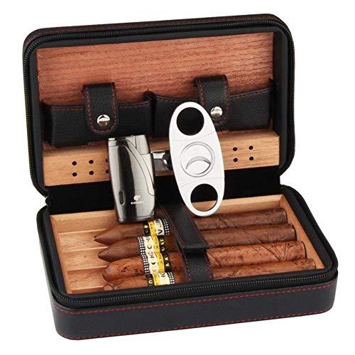Cxjff Zedernholz Humidor Reisen Tragbare Leder Zigarre Fall Zigarren Box mit Feuerzeug Cutter Befeuchter Box, Splitter Leichter