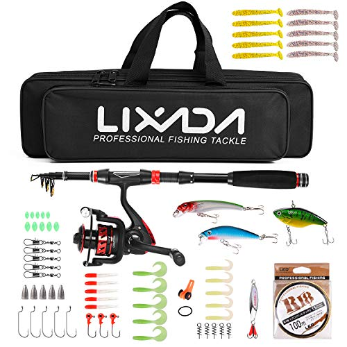 Buy Discount Goliraya Fishing Rod and Reel Combo Carbon Fiber Telescopic Fishing Rod with Spinning R...