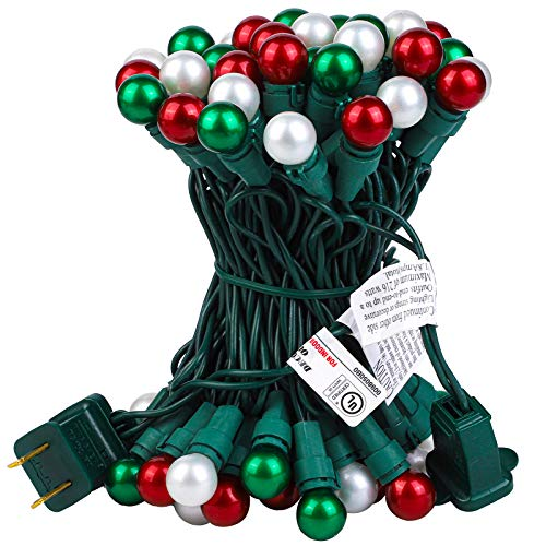 Ruisita Christmas Globe LED String Lights 19 FT 70 Red, Green, White Color LED String Lights, UL Certified String Lights for Outdoor and Indoor, Holiday, Fairy Garden, Patio, Christmas Decor