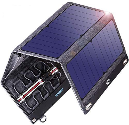 ソーラーチャージャー 16W 2USBポート VITCOCO ソーラー充電器 ソーラーパネル 4枚ソーラーパネル 折りたた...