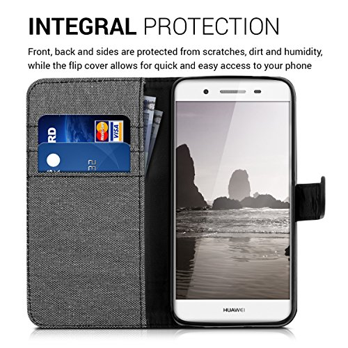 kwmobile Huawei GR3 / P8 Lite SMART Hülle - Kunstleder Wallet Case für Huawei GR3 / P8 Lite SMART mit Kartenfächern und Stand - Grau Schwarz - 4