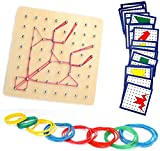 HUYIYI Holz Geoboard Set Geometriebrett Montessori Holz Spielzeug für Kinder und Erwachsene,Form Puzzle lernspielzeug,Inspirieren die Phantasie und Kreativität des Kinders