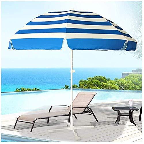 N\C Sombrillas de jardín al Aire Libre Sombrilla de Playa a Rayas de 2.4 m, con Marcos de Soporte Reforzados de Metal de Tres Capas y 8, para terraza de café al Aire Libre, Piscina sin Base (Color: