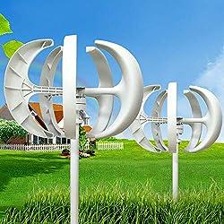 Windkraftanlage HaroldDol 600W 12V Windturbine Generator Weiß Laterne Vertikale Windgenerator 5 Blätter Windkraftanlage mit Controller
