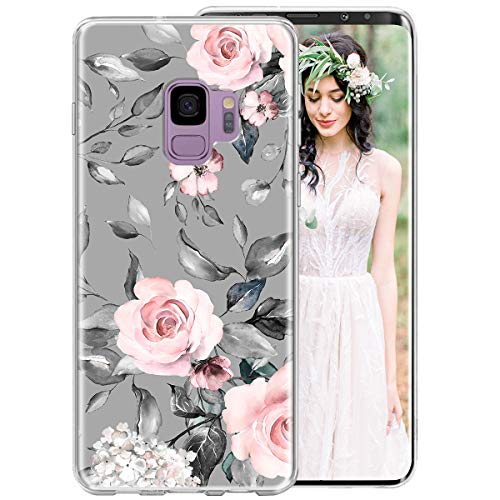 Galaxy S9 Plus Case for Girls Women, iDLike Floral Flower Cute Design Soft Silicone Protective Phone Case Cover with Flowers Roses + Leaves Pattern for Samsung Galaxy S9+ Plus 6.2 2018, Pink/Gray