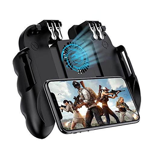 Mobile Game Controller 4 Trigger with Cooling Fan for PUBG/Call of Duty/Fotnite [6 Finger Operation] L1R1 L2R2 Gaming Grip Gamepad Mobile Controller Trigger for 4.7-6.5' iOS Android Phone