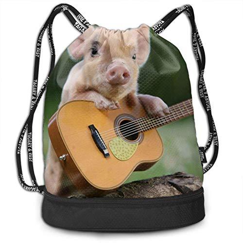 KKLDOGS Mochila con cordón, con estampado de cerditos para jugar a guitarra, deporte, viajes, gimnasio, mochila