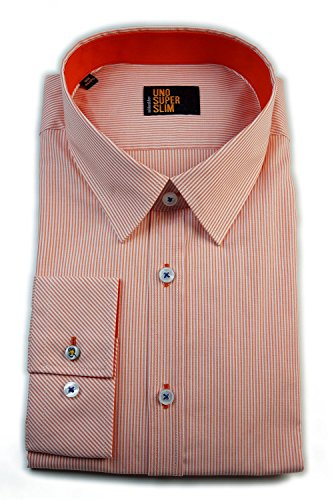 Seidensticker Herren Hemd UNO SUPER Slim Stretch orange/weiß gestreift mit Patch Gr. 37-45/570586.68 (45)