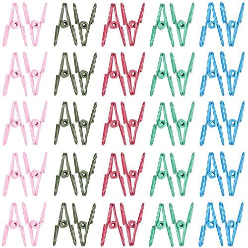 KONGWU 50 Pack Metal Clips Vestiti PEG Multicolor | Clip in Metallo Multiuso Piccoli Clip per Vestiti Asciugatura Office School School Note di cancelleria (5 Colori 50 Pezzi) Amazing
