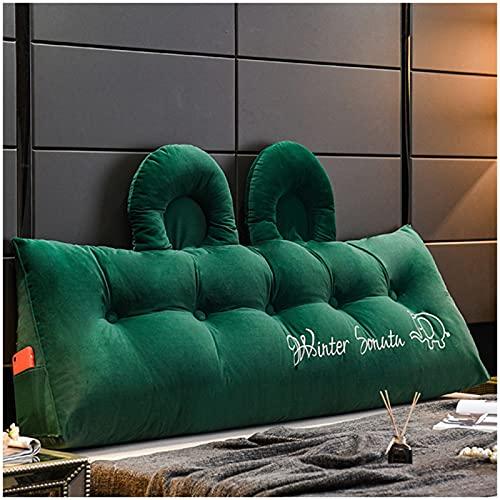 quwewn Einfarbige Lesekissen PP-Baumwollfüllung Und Waschbare Bettseiten Rückenkissen Flauschige Kissen Geeignet Zum Lesen Und Fernsehen,Green-150CM*50CM