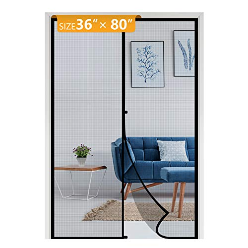 Yotache Door Net Screen with Magnet Fits Door Size 36, Door Mesh Fit Doors Size Up to 36'W x 80'H Max Anti-Tearing Reinforced Keep Mosquito Fly Bug Out