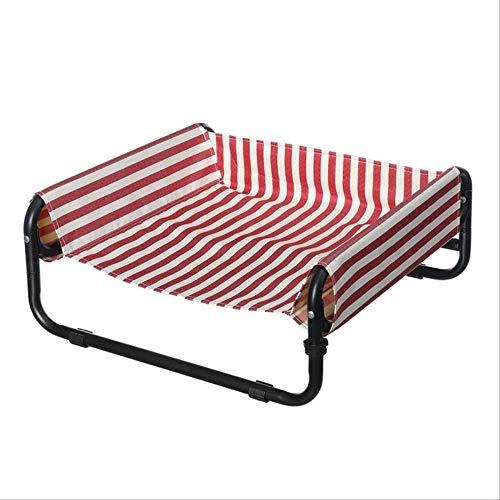 SFBBAO Haustierbett Abnehmbares Oxford-Stoff-Klapp-Haustierbett Winter Großes Hundezwinger-Sofa Stahl-Campingbett Innenschlafbett 56 * 56 * 24 cm Rot-Weiß-Streifen