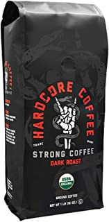 Hardcore Coffee Strong Dark Roasted Organic High Caffeine Cup Coffee, Strong Coffee, 1-Pound