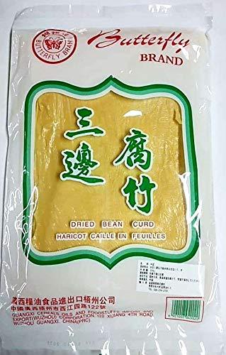 三邉腐竹 200g ゆば Butterfly Brand Dried Bean Curd 干腐皮 一張一張的 ゆば 腐皮 豆製品 湯葉 薄い 大張 也叫三?腐竹 油豆腐皮  大豆 豆腐皮