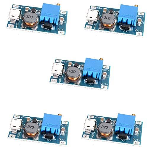 HiLetgo 5pcs 2A DC-DC Boost Step up Conversion Module MicroUSB 2V-24V to 5V-28V 9V 12V 24V