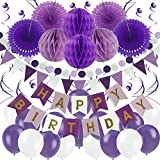 Zerodeco Geburtstag Dekoration, Happy Birthday Banner Wabenbälle und Fächerdekoration Papier Girlande Fächer Dreieckige Wimpel Spiral Girlanden und Luftballon - Violett, Lavendel und...